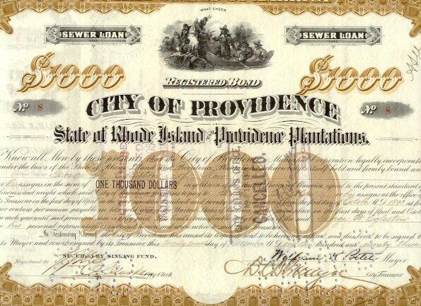 City of Providence: State of Rhode Island  1000 $ Bond