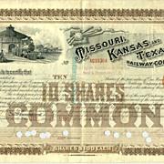 1891: Missouri, Kansas and Texas Railway Company, 10 Shares