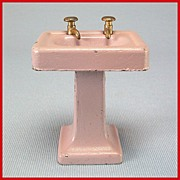 "Tootsie Toy Dollhouse Pedestal Sink - Lavender 1920s 1/2"" Scale"