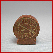 "Strombecker Dollhouse Bedroom Table Clock – Walnut Mid 1940s 3/4"" Scale"