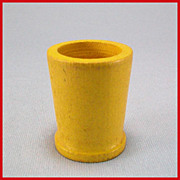 """Strombecker Dollhouse Bathroom Wastebasket – Yellow Early 1950s – Early 1960s 3/4"""" Sc"""