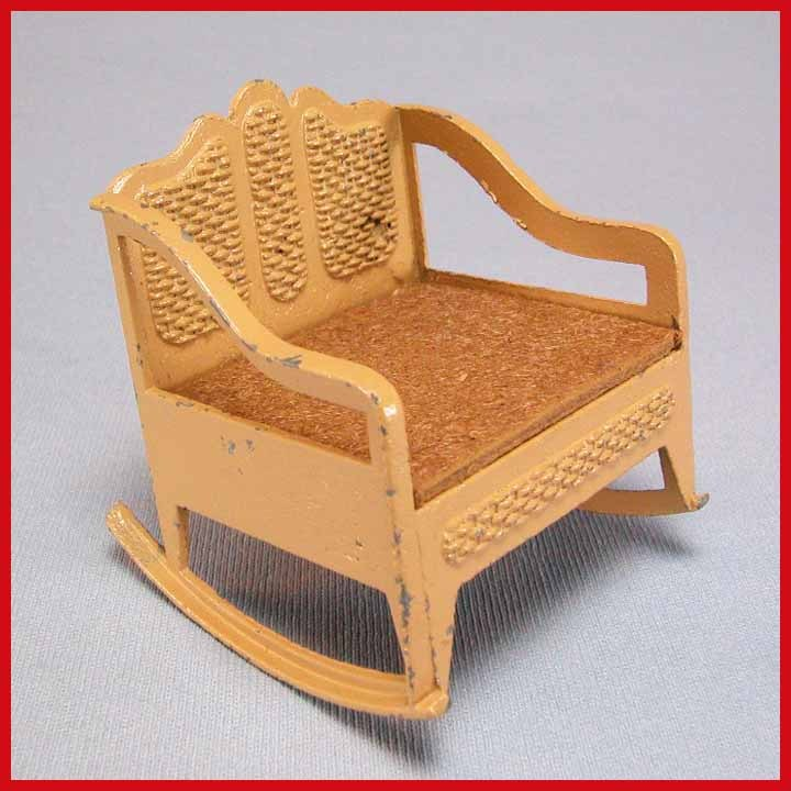 "Tootsie Toy Dollhouse Caned Rocking Chair – Tan 1930s 1/2"" Scale"