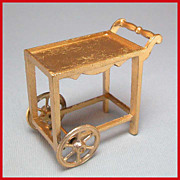 "Tootsie Toy Dollhouse Tea Cart Gilt Finish 1920s 1/2"" Scale MINT Condition!"