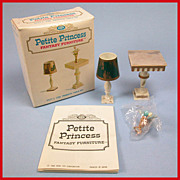 "Petite Princess Dollhouse #4427-1 Pedestal Table & Accessories MINT in Box by Ideal 1964 3/4"" Scale"