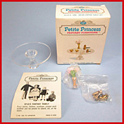 "Petite Princess Dollhouse #4433-9 Salon Coffee Table & Accessories MINT in Box by Ideal 1964 3/4"" Scale"
