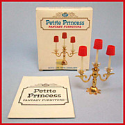 "Petite Princess Dollhouse #4439-6 Royal Candelabra MINT in Box by Ideal 1964 3/4"" Scale"