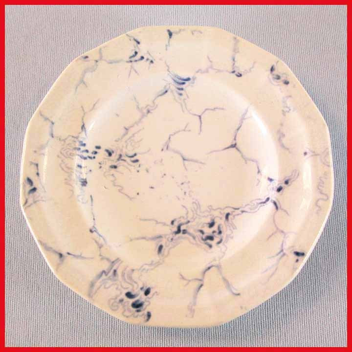 Navy Flow Blue Marble Pattern Child's Plate by Hackwood 1850s