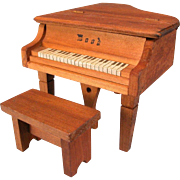 """Dollhouse Miniature 'Wood' Piano with Bench 1920s - 1930s 1"""" Scale"""