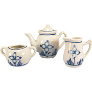 REDUCED 4 Pc. Antique German Blue Onion Tea Pot, Sugar & Creamer Early 1900s Doll ...