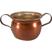 Antique German Copper Pot with Two Handles 1880s – 1900s Doll Size