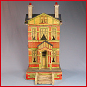 "REDUCED Gottschalk Blue Roof Dollhouse with Two Stories 1910s 1/2"" Scale"
