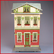 "REDUCED German Two Story Lithograph Dollhouse 1900s 1/2"" Scale"