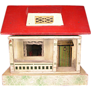 """REDUCED German Wooden Red Roof Dollhouse 1920s 1/2"""" Scale"""