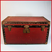 REDUCED Antique Dark Red Canvas Covered Wood Doll Trunk with Original Tray