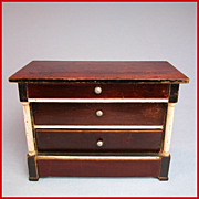 "Early Kestner Antique Dollhouse Chest of Drawers 1830s – 1840s Large 1"" Scale"