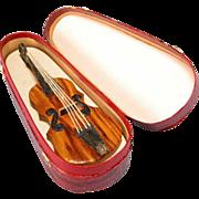 "Antique Dollhouse Miniature Carton Violin and Case – Dresden Christmas Ornament 1"" Scal"