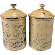 Set of 2 Antique German Miniature Round Sugar & Coffee Canisters for the Doll Kitchen ...