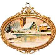 """Antique German Dollhouse Gilt Metal Picture Frame with Lithograph Winter Print 1900s 1"""" S"""