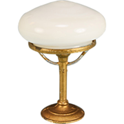 Antique German Dollhouse Gilt Soft Metal Table Lamp with Milk Glass Shade Early 1900s Large ..