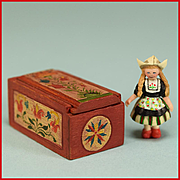 "Mary Grady O'Brien Miniature Folk Art Wooden Candle Box and Signed Fimo Dutch Doll 1"" Sca"