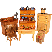 """Vintage Dollhouse Miniature Wooden Kitchen Furnishings 1980s 1"""" Scale"""