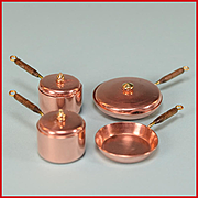 "Dollhouse Miniature Set of 4 Copper Pots and Pans by Ray Fisk 1980s 1"" Scale"