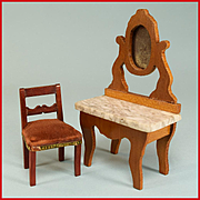 """Schneegas Marble Top Vanity Late 1800s Small 1"""" Scale and Dollhouse Side Chair from the F"""