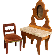 "Schneegas Marble Top Vanity Late 1800s Small 1"" Scale and Dollhouse Side Chair from the ."