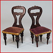 "Pair of Antique German Dollhouse Faux Grain Empire Side Chairs Mid 1800s 1"" Scale"