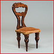 """German Dollhouse Empire Faux Grain Side Chair from the Flora Gill Jacobs Estate Mid 1800s 1"""""""