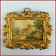 Antique Miniature Ormolu Picture Frame by Erhard and Son with Original Litho Print of a Countr