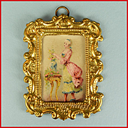 Antique Dollhouse Ormolu Picture Frame by Erhard and Son with Original Litho Print of a Fashio