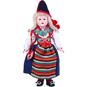Perfect & original German celluloid doll  Sweden Rattvik costume Kimport Dolls 10""