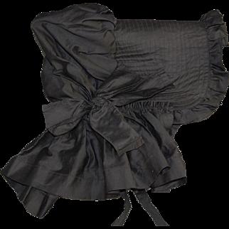 Antique black mourning sun bonnet large quilted brim hand sewn