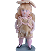 "German all bisque doll pink ribbed stockings boy  3 3/4"" socket head"