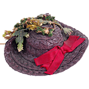 SOLD Antique doll straw bonnet deep purple with fabric ferns & moss