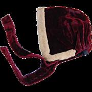 SALE Old velvet winter doll's bonnet deep burgundy
