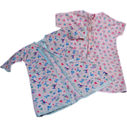 Pair 1960's printed flannel baby doll bathrobes layette
