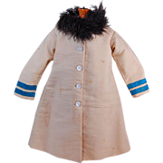 """Antique doll coat full length button front with feather collar 15"""""""