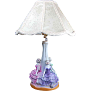 Vintage figural lady boudoir bedroom lamp with shade porcelain seated ladies pastel ballgowns