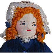 Vintage cloth doll needle sculpture embroidered face redhead