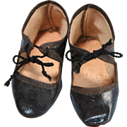 Antique black oilcloth doll shoes 3  inch  size 7