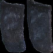 Antique doll socks black mesh knit  3 inch foot good quality
