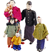 Set Chinese doll family of six Mother Father and children baby wired base papiermache 1920's