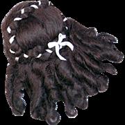 "SOLD Vintage 1980's Wendy Feidt mohair doll wig hand signed dark brunette  6 1/2"" unused"