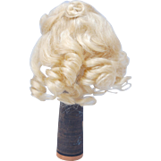 """SOLD Small blonde mohair doll wig soft ringlets 5-6"""""""