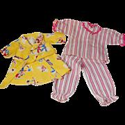Vintage flannel doll's PJ's bedtime pajamas and bath robe
