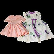 Pair vintage doll dresses peachy pink and purple floral printed seersucker