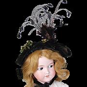 SALE Antique velvet bonnet wired jet bead trim feather trim