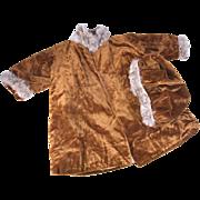 """SALE Antique doll coat and beret fur trimmed gold silk velvet for large 24-26"""" doll"""